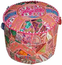 Indian Pouffe Vintage Pouf Cover Round Pillow Cover Handmade Cotton Ottoman