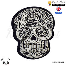 Live Love Ride Sugar Skull Biker  Embroidered Iron On Sew On PatchBadge
