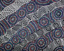 Salt Lake Black Aboriginal Australian prints Quilting Fabric 1/2 metre