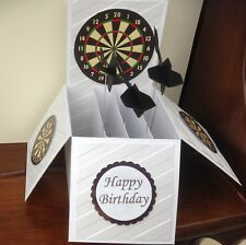 Handmade Darts themed birthday pop up card