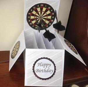 Handmade Darts themed birthday pop up card