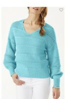 Tommy Bahama Women's Channel Isle Cotton V-Neck Sweater Size L NWT Clear Ocean.