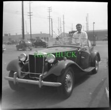4 Photo Negatives MG TD Convertible Roadster Los Angeles CA 1953 Goin Fishin