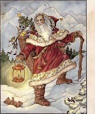 Set of 5 Prints of  'Father Chrismas ' by Rice-Bonin' for Decoupage