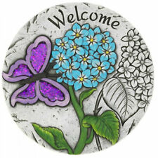 Purple Butterfly Welcome Cement Garden Stepping Stone
