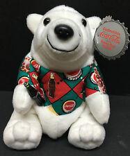 [61372] 1997 COCA-COLA BEAR in ARGYLE SHIRT BEAN BAG PLUSH IN CLEAR PLASTIC CASE