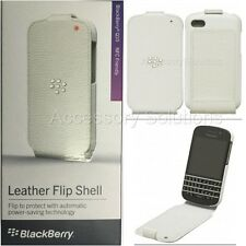 OEM Genuine Blackberry Q10 Leather Flip Shell Carrying Cover Case NEW White