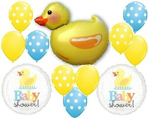 12 BALLOONS party DUCKY rubber duck BABY SHOWER GIFT decor FAVOR polka dots CUTE