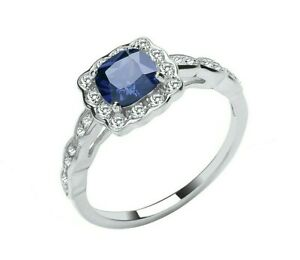 Sterling Silver 925 Tanzanite Art Deco Style Ring - ALL SIZES AVAILABLE