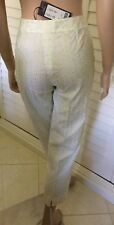 PIAZZA SEMPIONE Audrey Size Italy 44 White Green embroidery Cotton AUTH NEW $575