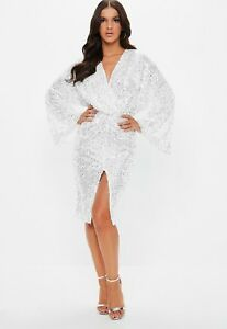 Missguided White Silver Sequinned Party NYE Sexy V Neck Wrap Midi Dress £60