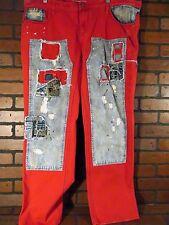 GRINDHOUSE Denim Jeans Distressed Red Blue Patched Splatter NEW W 38 L 32