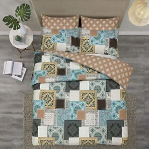 SuperKing Size Patchwork 100% Cotton Bedding Set Duvet Quilt Cover & Pillowcases