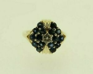 VINTAGE 14CT GOLD SAPPHIRE AND DIAMOND RING
