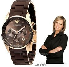 Emporio Armani AR-5891 Brown Women's Sportivo Chronograph Wrist Watch