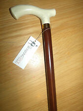 WOODEN WALKING STICK CANE CRUTCH IVORY COLOUR HANDLE BROWN BEECH WOOD CANE STICK