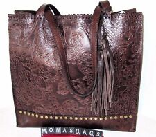 Patricia Nash Toscano Burnished Tooled Lace Dark Brown Leather Tote Bag NWT $249