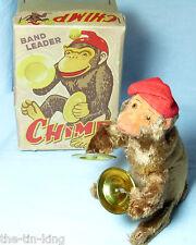 SPLENDID ALPS TOYS JAPAN CLOCKWORK BAND LEADER CHIMP CYMBALS MONKEY TOY C1950S