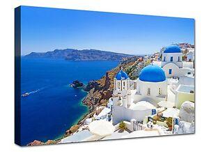 Pacchera Quadri Moderni Mare Grecia Santorini cm 100x70 Quadro Stampa su tela