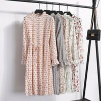 Women's Vintage Boho Floral Long Sleeve Dress Chiffon Pleated Lady Casual Skirt