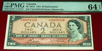 below 0400000 serial number- BANK OF CANADA - 1954 $2 -star replacement .PMG 64