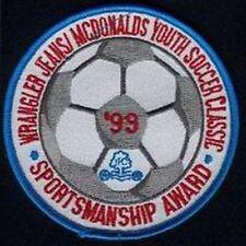 MCDONALDS YOUTH SOCCER SPORTSMANSHIP AWARD '99 FOOTBALL JERSEY LOGO PATCH NEW