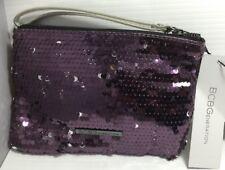 New BCBGeneration Plum Women Purse Handbag Clutch Sequin Wristlet Size NS