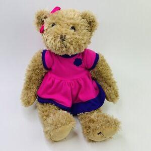 "FAO Schwarz Pink Purple Dress Teddy Bear Animal Stuffed Plush Toy 16"""