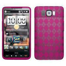 AMZER Luxe Argyle High Gloss TPU Skin Fit Case Cover for HTC HD2 - Hot Pink