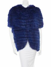 EXQUISITE J. MENDEL FOX INDIGO BLUE Short Sleeve FUR Coat Jacket S Medium