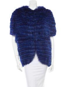 Exquis J.Mendel Fox Indigo Bleu Manches Courtes Veste Manteau Fourrure S M