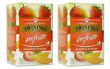 2 x TWININGS Infuso Strawberry & Mango Fruit Flavored Tea 20 Envelopes Box