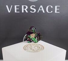 NIB Authentic VERSACE MEDUSA HEAD & ENAMEL FLOWER Gold-Toned Adjustable Ring