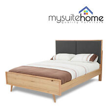 Marley Messmate Veneer Queen Size Bed Frame Solid Timber Slat Fabric Padded Head