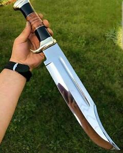 18.0 BEAUTIFUL CUSTOM HANDMADE CARBON TOOL STEEL HUNTING BOWIE KNIFE WITH SHEATH