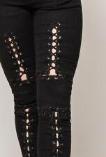 MONDAY PREMIUM Stretch Jeans 34-42 Sexy Schnürung Hose schwarz black Ösen