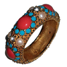Vintage Graziano Simulated Coral, Pearl & Turquoise  Studded Bracelet