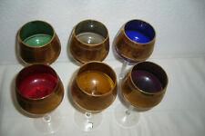 6 Schöne Farbige Kristall Römergläser mit Breitem Goldrand & Rosenmotiv, 19,3cm