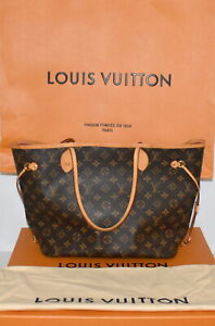 Authentic Louis Vuitton Neverfull MM Monogram Peony Tote Bag Mint Condition