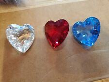Swarovski 3 Hearts Red White Blue Paperweights Figurines