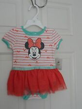 TOO CUTE DISNEY BABY GIRL'S MINNIE MOUSE SKIRTED CREEPER SIZE 3-6 M NWT MSRP $30
