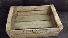 VINTAGE WOODEN TISSOT PEAR FRUIT CRATES RUSTIC OLD BUSHEL BOX PROP APPLE .*