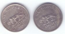 TWO coins British India 1947 one rupee silver King George VI
