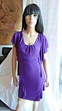 BEBE brand purple flutter sleeve bandage open back jersey dress XS