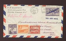 ANTIGUA 1946 RETURN POSTAGE PAID in STAMPS AIRMAIL USA +PAN AM AIRWAYS HANDSTAMP