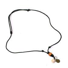 niki-orange® Yulin Halskette Surferkette Kette Anhänger Leder Schwarz Muschel