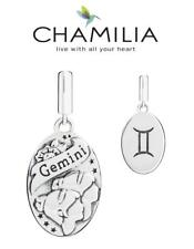 Genuine CHAMILIA 925 sterling silver GEMINI horoscope dangle charm bead, zodiac