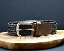 Bellido Sport Mens Braided Leather Stretch Belt Brown / Blue / Green Size 32