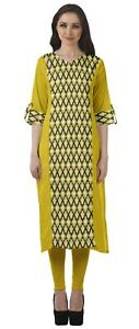Moomaya V Neck Straight Tunic For Women Roll Up Sleeve Printed Cotton-GE9