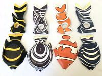 Hand Painted Crafted Tropical Fish Coasters Napkin Ring Set Of 8 Made In Bali